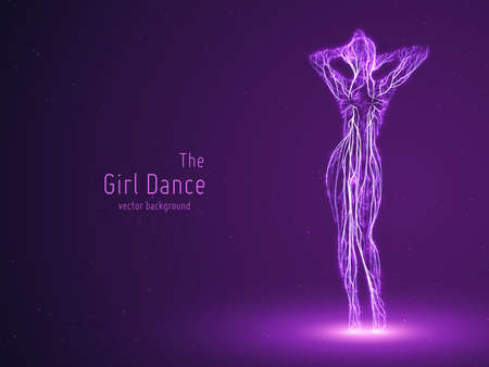 Vector dancing girl constructed with violet lines and glowing particles. Elegant slow dancing pose. Concept of woman beauty in petite dance motion. Intricated femine silhouette in a club. Illustration