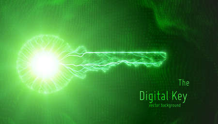 Vector green illustration of cyber key on binary background. Concept of cyber security and big data protection. Modern digital network private background