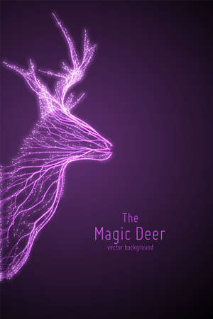 Vector illustration of violet geometric deer head constructed with branching lines. Abstract vector of deer in the form of a mystic silhouette with points and lines. Wireframe concept of deer. Illustration