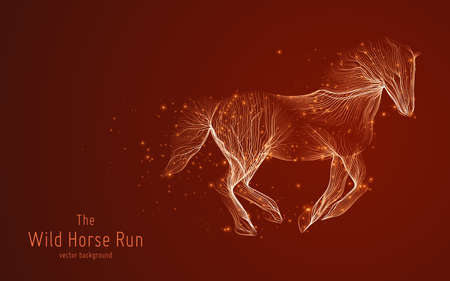 Vector illustration of galloping horse constructed with branching lines and glowing point trails. The concept of development, progress, speed and wild freedom. Illustration