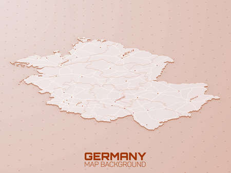 Germany 3d map visualization. Stock Illustratie