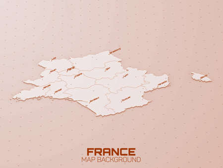 France 3d map visualization. Futuristic HUD map. Geographical information aesthetics. UI map design. Complex France visualization with roads, regions and main cities.