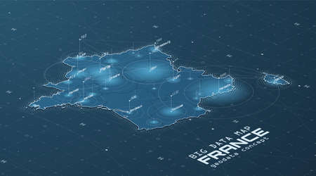 France map big data visualization. Futuristic map infographic. Information aesthetics. Visual data complexity. Complex France data graphic visualization. Abstract data on map graph. Ilustrace