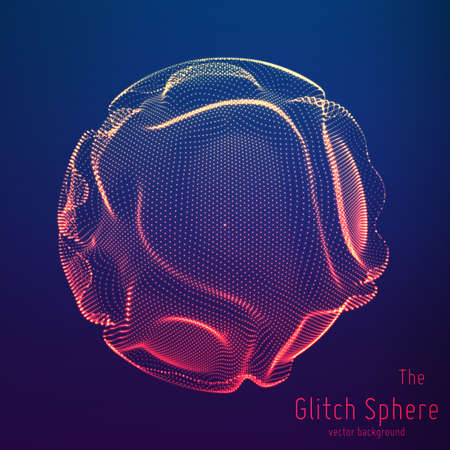 Vector abstract sphere of particles, points array. Futuristic vector illustration. Technology digital splash or explosion of data points. Spherical waveform. Cyber UI or HUD element.