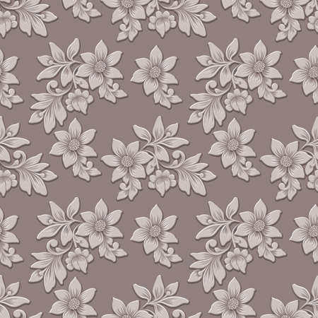 Vector  flower seamless pattern background. Elegant luxury embossed texture for backgrounds, seamless texture for wallpapers. Illustration