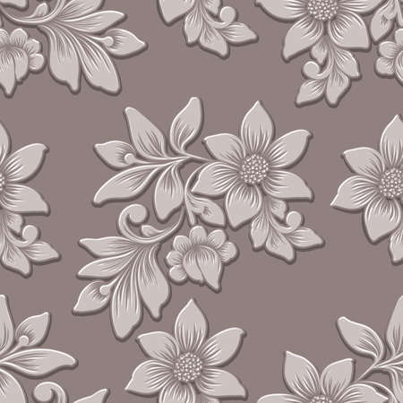 Vector volumetric flower seamless pattern element. Elegant luxury embossed texture for backgrounds, seamless texture for wallpapers, textile. Classical floral 3d ornament with shadows and highlights.