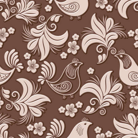 A Vector volumetric flower and bird seamless pattern element.