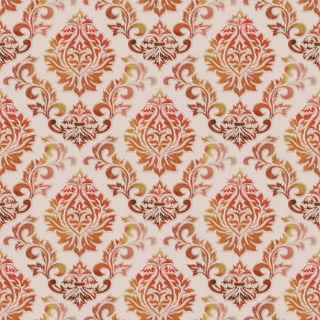 Vector volumetric damask seamless pattern background. Elegant luxury embossed texture with watercolor for wallpapers, backgrounds and page fill. 3D elements with shadows and highlights