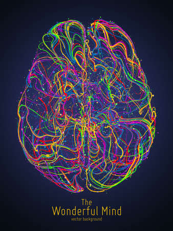 Vector colorful illustration of human brain with synapses Иллюстрация