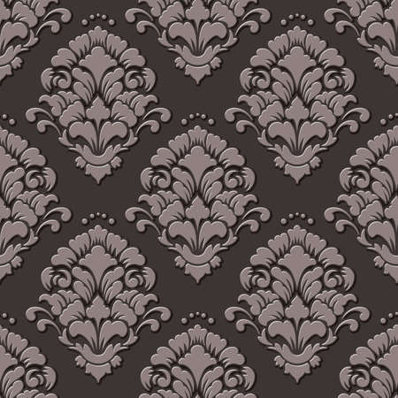 Vector volumetric damask seamless pattern background. Elegant luxury embossed texture for wallpapers, backgrounds and page fill. 3D elements with shadows and highlights.