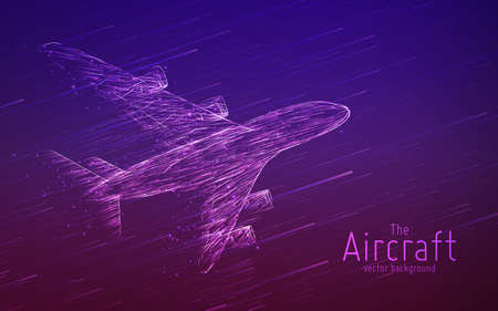 Vector airliner constructed with glowing lines. Thin line wireframe concept. Aircraft flying in sky with motion trails. Travel, tourism, transport concept. Airplane abstract illustration.