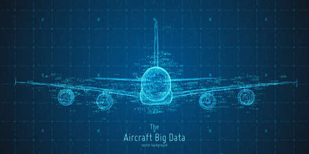 Abstract vector plane big data graph visualization. Aircraft infographics aesthetic design, visual information complexity. Intricate engineering data scheme, travel, tourism, transport analytics.