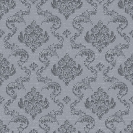 Vector damask seamless pattern background with handwriting. Classical luxury old fashioned damask ornament, royal victorian seamless texture for wallpapers, textile, wrapping. Floral baroque template.