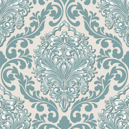 Vector volumetric damask seamless pattern element. Elegant luxury embossed texture for wallpapers, backgrounds and page fill. 3D elements with shadows and highlights.