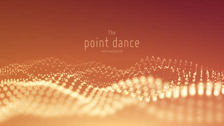 Vector abstract particle wave, points array with shallow depth of field. Futuristic illustration. Technology digital splash or explosion of data points. Pont dance waveform. Cyber UI, HUD element.