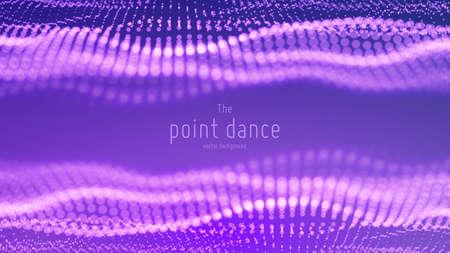 Vector abstracte deeltjesgolf, puntenreeks met ondiepe scherptediepte. Futuristische illustratie. Technologie digitale splash of explosie van datapunten. Pont-dansgolfvorm. Cyber UI, HUD-element.