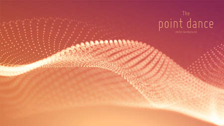 Vector abstract red particle wave, points array, shallow depth of field. Futuristic illustration. Technology digital splash or explosion of data points. Point dance waveform. Cyber UI, HUD element.