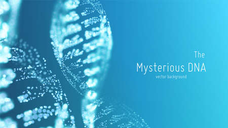 Illustration vectorielle abstraite de double hélice d'ADN bleu avec une faible profondeur de champ. Mystérieuse source de fond de vie. Image futuriste de génom. Conception conceptuelle des informations génétiques. Vecteurs