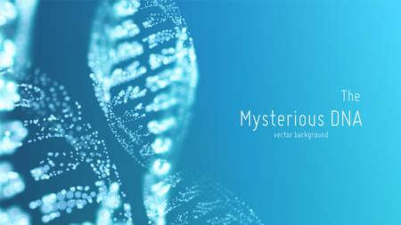 Vector ilustración de doble hélice de ADN azul abstracto con poca profundidad de campo. Fuente misteriosa de fondo de vida. Imagen futurista de Genom. Diseño conceptual de información genética. Ilustración de vector