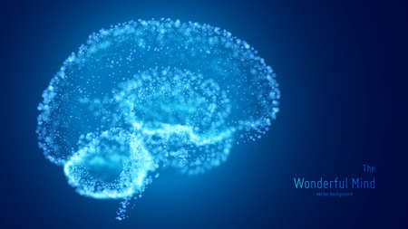 Vector blue illustration of 3d brain with glowing neurons and shallow depth of field. Conceptual image of idea birth or artificial intelligence. Shiny dots forms brain structure. Futuristic mind scan. Vectores