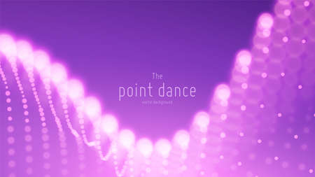 Vector abstract violet particle wave, points array, shallow depth of field. Futuristic illustration. Technology digital splash or explosion of data points. Point dance waveform. Cyber UI, HUD element.