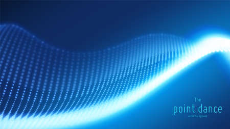 Vector abstract blue particle wave, points array, shallow depth of field. Futuristic illustration. Technology digital splash or explosion of data points. Point dance waveform. Cyber UI, HUD element. Stock Illustratie