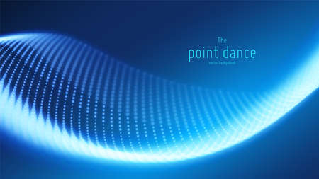 Vector abstract blue particle wave, points array, shallow depth of field. Futuristic illustration. Technology digital splash or explosion of data points. Point dance waveform. Cyber UI, HUD element. Çizim