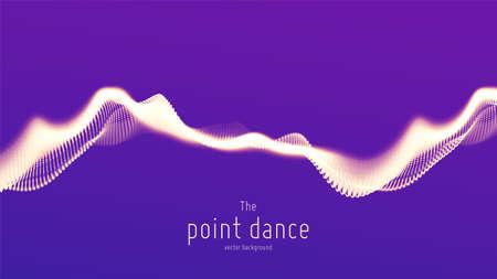 Vector abstracte violette deeltjesgolf, puntenreeks, ondiepe scherptediepte. Futuristische illustratie. Technologie digitale splash of explosie van datapunten. Point dance golfvorm. Cyber UI, HUD-element