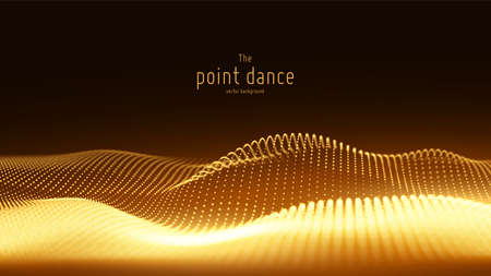 Vector abstract golden particle wave, points array, shallow depth of field. Futuristic illustration. Technology digital splash or explosion of data points. Point dance waveform. Cyber UI, HUD element Illustration