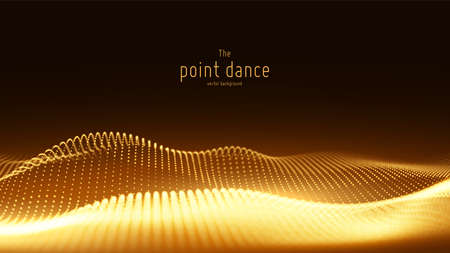 Vector abstract golden particle wave, points array, shallow depth of field. Futuristic illustration. Technology digital splash or explosion of data points. Point dance waveform. Cyber UI, HUD element Çizim