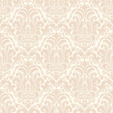 Damassé de fond transparente de vecteur. Ornement damassé à l'ancienne classique de luxe, texture transparente victorienne royale pour papiers peints, textile, emballage. Modèle baroque floral exquis. Vecteurs