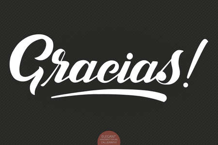 Lettrage Gracias dessinés à la main de vecteur. Calligraphie manuscrite moderne et élégante avec citation reconnaissante. Illustration à l'encre. Affiche de typographie sur fond sombre. Pour les cartes, les invitations, les impressions, etc.