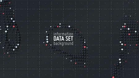 Fond de visualisation de tri de données abstraites vectorielles. Big Data. Données triées sous forme de petites sphères. Concept d'analyse de l'information. Filtrage des algorithmes des machines. Fond de technologie vectorielle. Couverture tendance