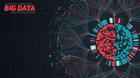Big data circular visualization. Futuristic infographic. Information aesthetic design. Visual data complexity. Complex data threads graphic. Social network representation. Abstract graph.
