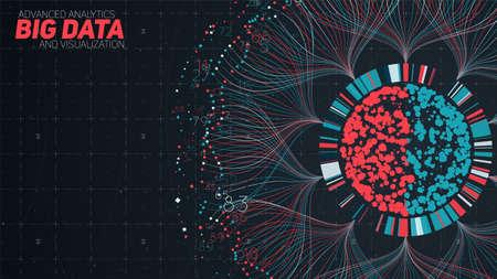Visualizzazione circolare di big data. Infografica futuristica. Progettazione estetica delle informazioni. Complessità visiva dei dati. Grafico di thread di dati complessi. Rappresentazione dei social network. Grafico astratto.