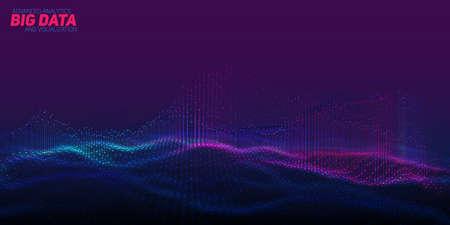 벡터 추상 3D 빅 데이터 시각화입니다. 미래의 인포 그래픽 미적 디자인. 시각적 정보 복잡성. 복잡한 데이터 스레드 플롯. 소셜 네트워크 또는 비즈니스 분석 표현