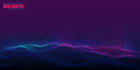 Visualisation de données volumineuses 3D abstraite de vecteur. Conception esthétique d'infographie futuriste. Complexité des informations visuelles. Tracé de fils de données complexes. Réseau social ou représentation analytique d'entreprise