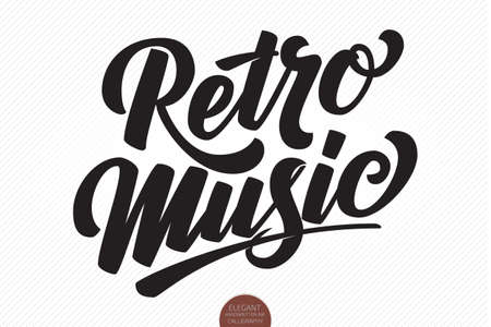Retro Music. Vector hand drawn lettering. Elegant modern handwritten calligraphy. Music Ink illustration. Typography poster for cards, invitations, promotions, posters, banners etc. Stock Illustratie