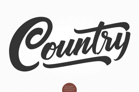 Country Music. Vector musical hand drawn lettering. Elegant modern handwritten calligraphy. Music ink illustration. Typography poster for cards, invitations, prints, promotions, posters, banners etc.