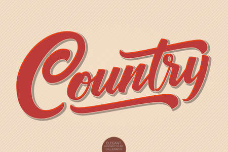 Country Music. Vector volumetric hand drawn lettering. 3D elegant modern handwritten calligraphy. Music Ink illustration. Typography poster for cards, invitations, promotions, posters, banners etc.
