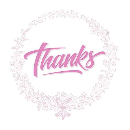 Thanks card with floral background artwork. Elegant ornate floral background. Handwritten lettering and elegant flower elements. Design template