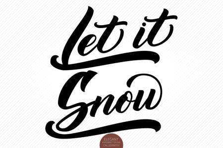 Christmas calligraphy phrases. Hand drawn lettering Let It Snow. Elegant modern handwritten brush calligraphy. Vector winter holidays ink illustration. Typography for poster, cards, prints etc