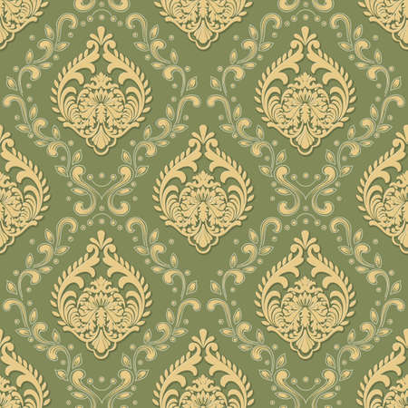 Vector volumetric damask seamless pattern background. Elegant luxury embossed texture for wallpapers, backgrounds and page fill. 3D elements with shadows and highlights
