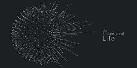 Uitbreiding van het leven. Vector bol explosie achtergrond. Kleine deeltjes streven uit het midden. Wazig puin verandert onder hoge bewegingssnelheid in stralen of lijnen. Burst, explosie achtergrond