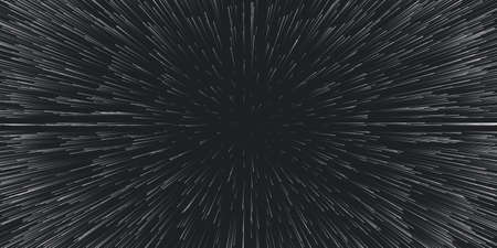 Vector lightspeed travel background. Centric motion of star trails. Light of galaxies blurred into rays or lines under high speed of motion. Burst, explosion backdrop