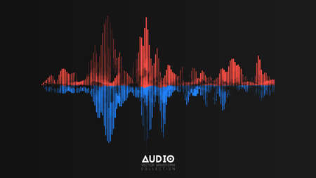 Vektor-Audio-Wavefrom. Abstrakte Musikwellenschwingung. Futuristische Schallwellenvisualisierung. Synthetische Musiktechnologie-Beispiel. Tune-Druck. Rote und blaue Frequenzen.