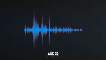 Vector audiogolf van. De abstracte oscillatie van muziekgolven. Futuristische geluidsgolfvisualisatie. Voorbeeld van synthetische muziektechnologie. Stem de afdruk af met wazige balken en rode stippen