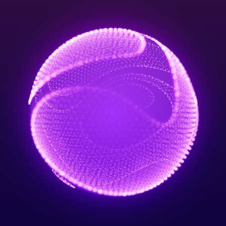 Abstract vector mesh cliced sphere on dark violet background with depth of field effect. Futuristic style card. Elegant background for business. Corrupted point sphere with bokeh. Chaos aesthetics 矢量图像