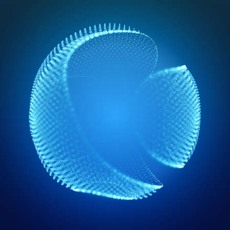 Abstract vector mesh cliced sphere on dark blue background with depth of field effect. Futuristic style card. Elegant background for business. Corrupted point sphere with bokeh. Chaos aesthetics 矢量图像