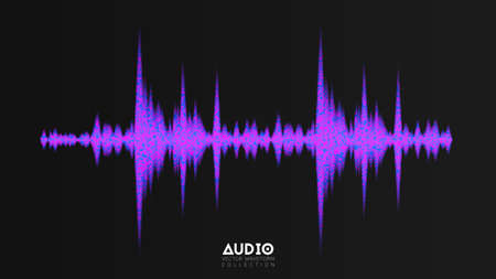 Vector audio wavefrom. Abstract music waves oscillation. Futuristic sound wave visualization. Synthetic music technology sample. Tune print with shining dots Illustration